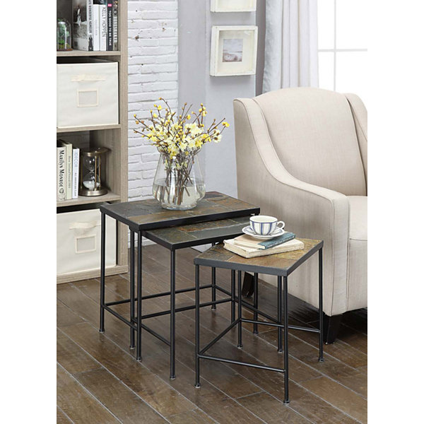 4D Concepts 3 Piece Nesting Tables with Slate Top