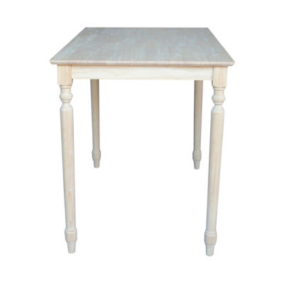 Unfinished Solid Wood Top With Turned Legs Rectangular Wood-Top Dining Table