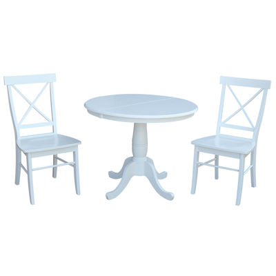 Round Extension Dining Table with 2 X-Back Chairs