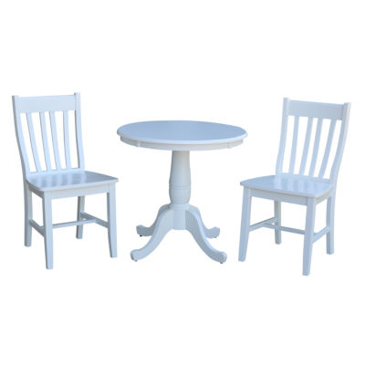 Round Top Pedestal Table with 2 Cafe Chairs