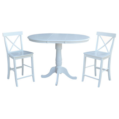 Round Extension Dining Table with 2 X-Back Counterheight Stools