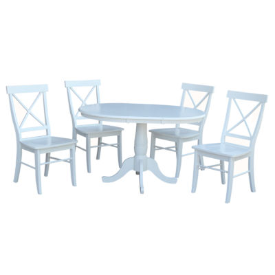 Round Extension Dining Table with 4 X-Back Chairs
