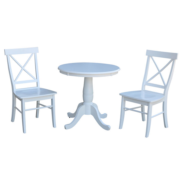 Round Top Pedestal Table with 2 X-Back Chairs