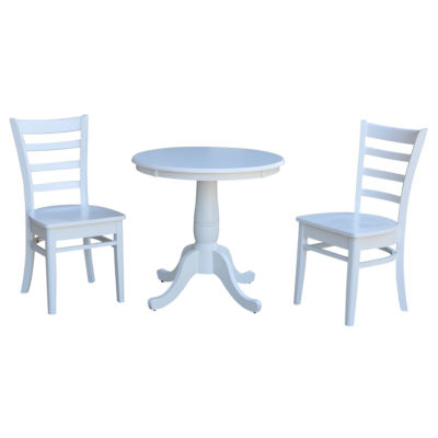 Round Top Pedestal Table with 2 Emily Side Chairs