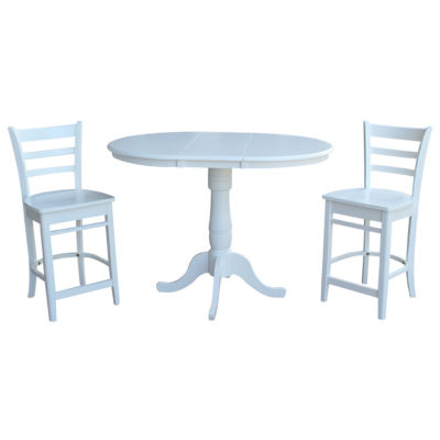 Round Extension Dining Table with 2 Emily Counterheight Stools