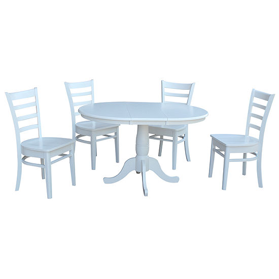 Round Extension Dining Table with 4 Emily Chairs