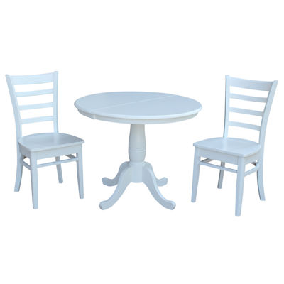 Round Extension Dining Table with 2 Emily Chairs