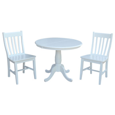 Round Extension Dining Table with 2 Cafe Chairs