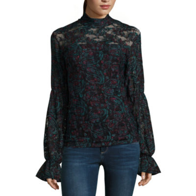 Libby Edelman Long Sleeve Lace Top