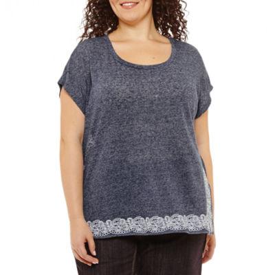 Liz Claiborne Short Sleeve Scoop Neck T-Shirt-Womens Plus