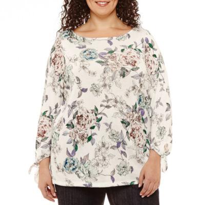 Liz Claiborne 3/4 Sleeve Boat Neck Floral T-Shirt-Womens Plus