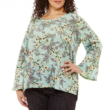 Liz Claiborne Bell Sleeve Floral Top- Plus