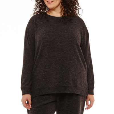 Liz Claiborne Long Sleeve Space Dye Sweatshirt- Plus