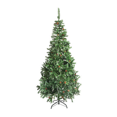 ALEKO Christmas Holiday Pine Tree With White Tips and Pine Cones