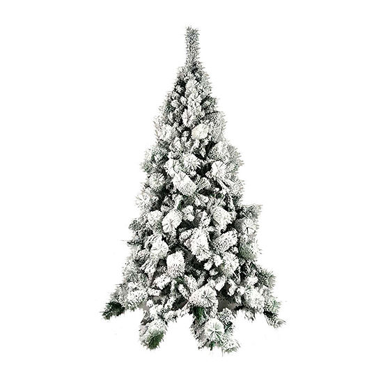 aleko snow dusted holiday christmas tree with green metal stand - Metal Christmas Decoration Stand