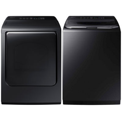 Samsung Top Load 2-pc. Electric Washer & Dryer Set- Black Stainless