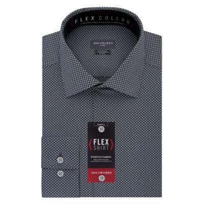 Van Heusen Long Sleeve Twill Dots Dress Shirt - Slim