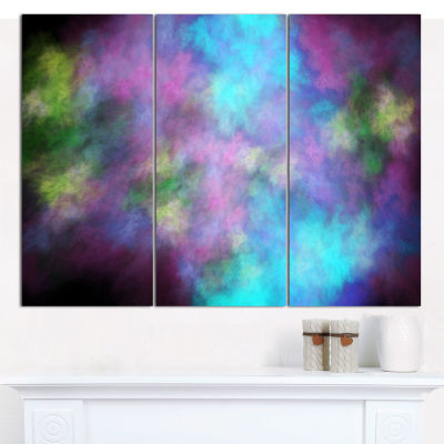 Designart Perfect Blue Purple Starry Sky AbstractCanvas Art Print - 3 Panels