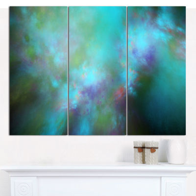 Designart Perfect Blue Starry Sky Abstract CanvasWall Art - 3 Panels