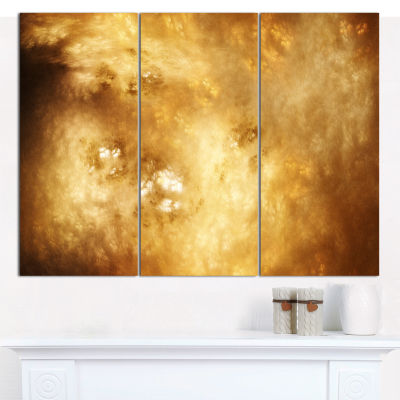Designart Perfect Brown Starry Sky Abstract CanvasArt Print - 3 Panels