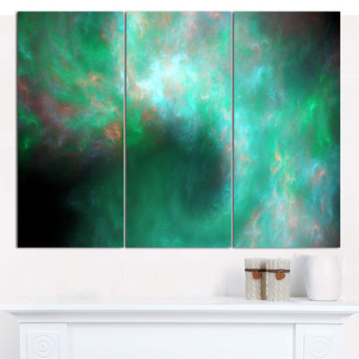 Designart Perfect Clear Blue Starry Sky Abstract Canvas Art Print - 3 Panels