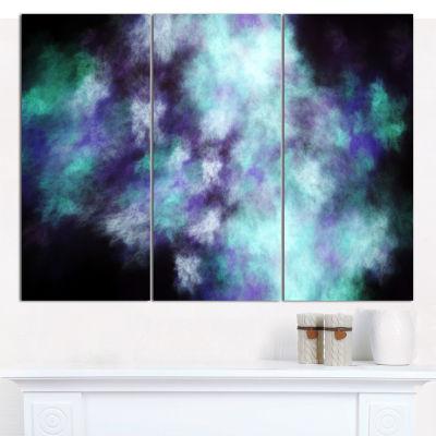 Designart Perfect Flowery Starry Sky Abstract Canvas Art Print - 3 Panels
