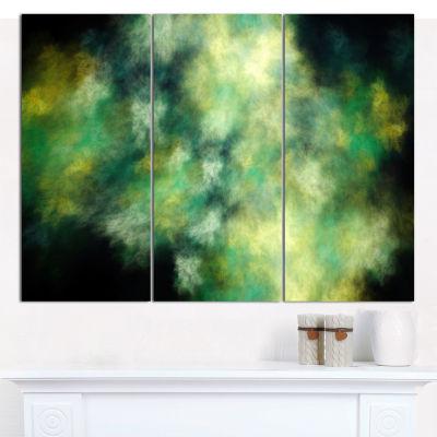 Designart Perfect Green Starry Sky Abstract CanvasWall Art - 3 Panels