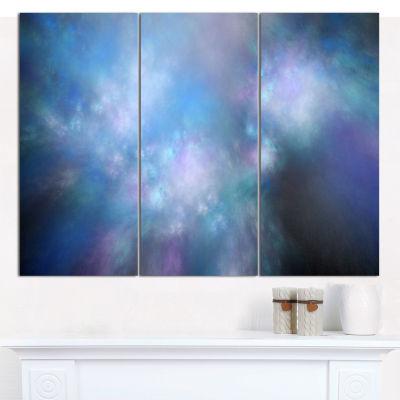 Designart Perfect Light Blue Starry Sky Abstract Canvas Art Print - 3 Panels