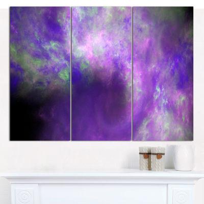 Designart Perfect Light Purple Starry Sky AbstractCanvas Art Print - 3 Panels