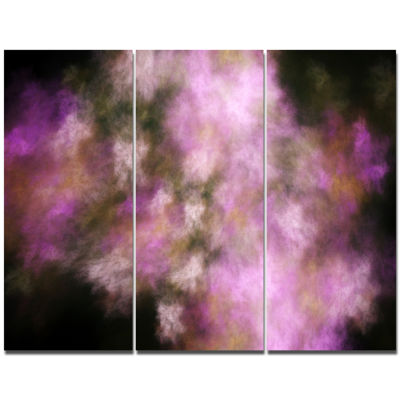 Designart Perfect Pink Starry Sky Abstract CanvasArt Print - 3 Panels