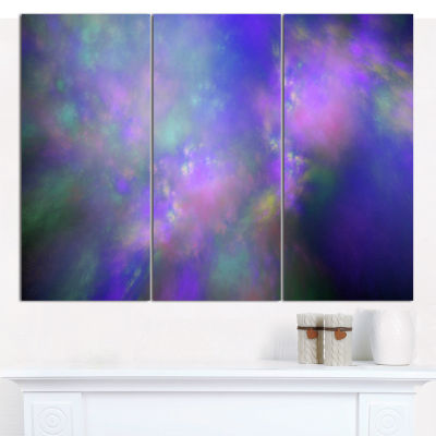 Designart Perfect Purple Starry Sky Abstract Canvas Wall Art - 3 Panels
