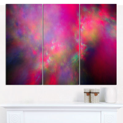 Designart Perfect Red Starry Sky Abstract Canvas Art Print - 3 Panels