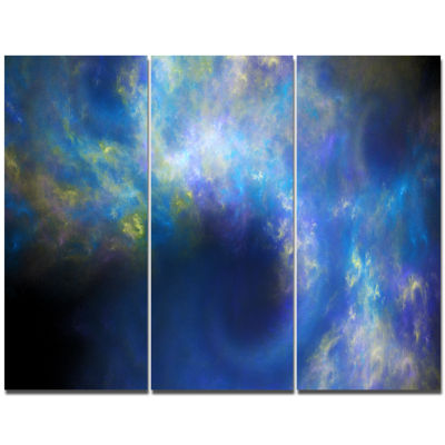 Designart Perfect Whirlwind Starry Sky Abstract Canvas Art Print - 3 Panels