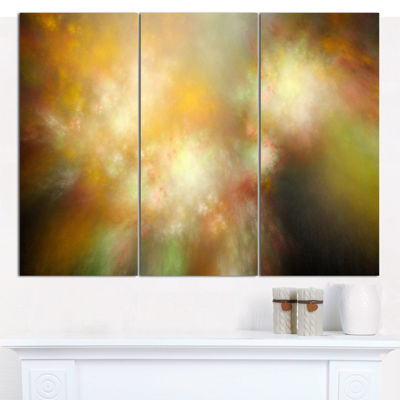 Designart Perfect Yellow Green Starry Sky AbstractCanvas Art Print - 3 Panels