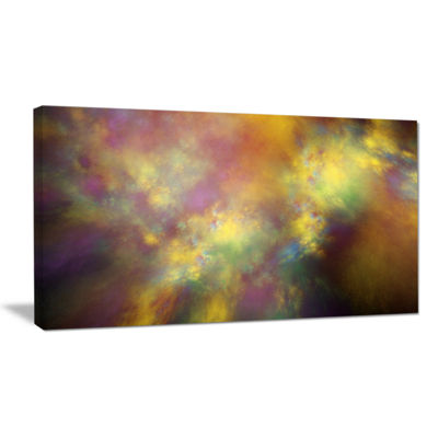 Designart Perfect Yellow Starry Sky Abstract Canvas Art Print