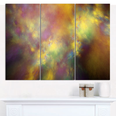 Designart Perfect Yellow Starry Sky Abstract Canvas Art Print - 3 Panels