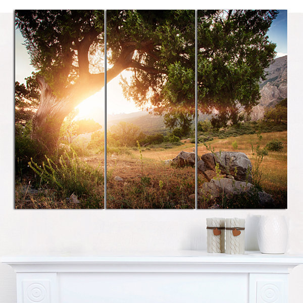 Designart Picturesque Foros Mountains Abstract ArtOn Canvas - 3 Panels