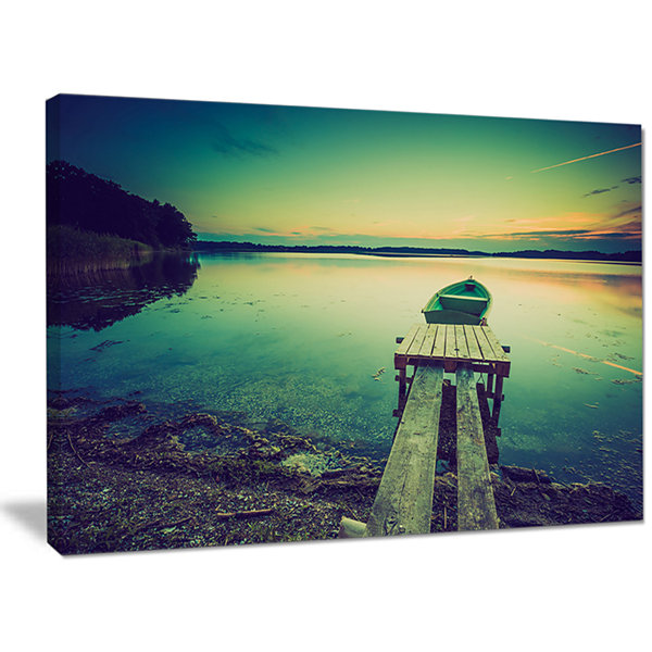 Designart Pier And Boat In Vintage Lake Boat Canvas Art Print