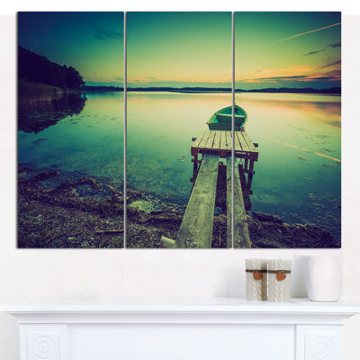 Designart Pier And Boat In Vintage Lake Boat Canvas Art Print - 3 Panels