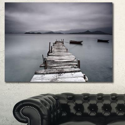 Designart Pier And Boats At Seashore Bridge CanvasArt Print