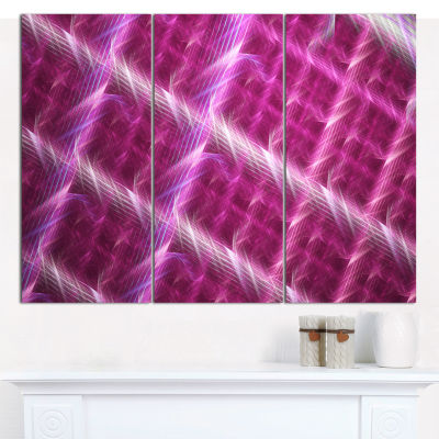 Designart Pink Abstract Metal Grill Abstract Art On Canvas - 3 Panels