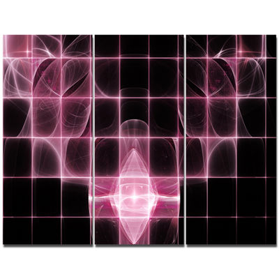 Designart Pink Bat Outline On Radar Abstract Canvas Art Print - 3 Panels