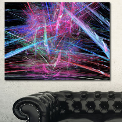 Designart Pink Blue Magical Fractal Pattern Abstract Canvas Wall Art