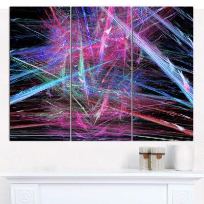 Designart Pink Blue Magical Fractal Pattern Abstract Canvas Wall Art - 3 Panels