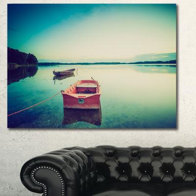 Designart Pink Boat In Vintage Lake Boat Canvas Art Print
