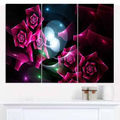 Designart Pink Bouquet Of Beautiful Roses AbstractCanvas Art Print - 3 Panels