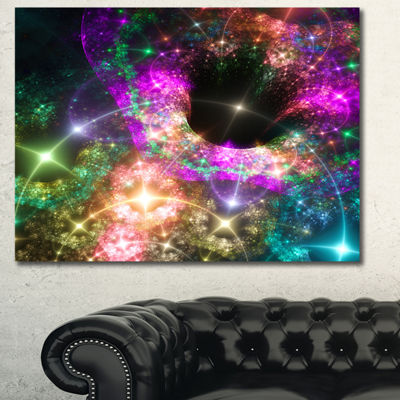 Designart Pink Cosmic Black Hole Abstract Art On Canvas