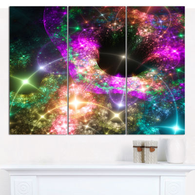 Designart Pink Cosmic Black Hole Abstract Art On Canvas - 3 Panels