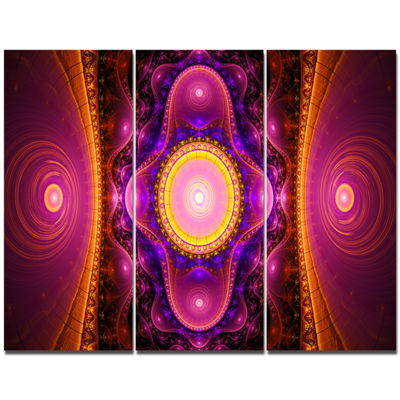Designart Pink Cryptical Fractal Design Abstract Wall Art Canvas - 3 Panels