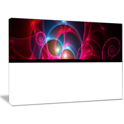 Designart Pink Curly Spiral On Black Abstract WallArt Canvas